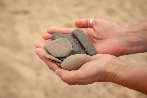 Hand Sand Hands Stones Summer Beach