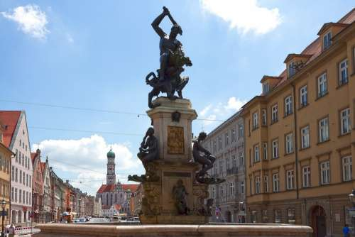 Hercules Man Force Fountain Dragon Augsburg