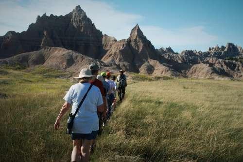 Hike Journey Hills Cliffs Tourist Activity Follow