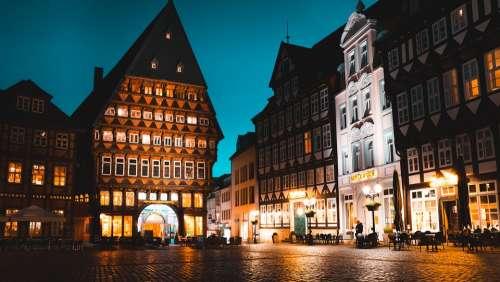 Hildesheim Night City Germany Street Lights