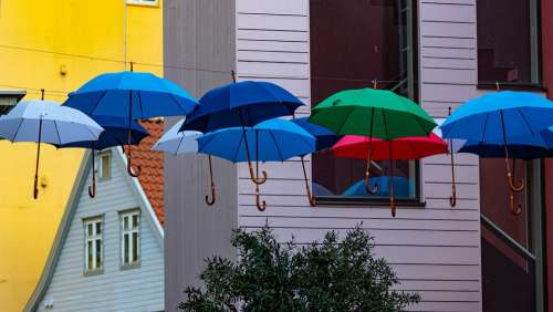 House Umbrellas Colorful Color Art