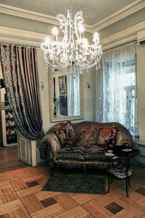 Interior Sofa Chandelier Home Lounge Room Window