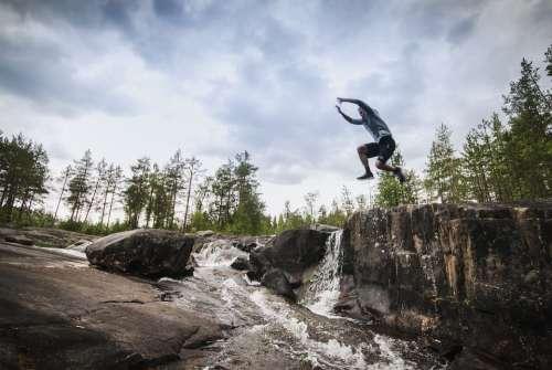 Jump Rocks Rock Jumping Freedom Hiking Sky Alone