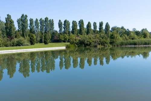 Lake Water Island Boat Tree Reflection