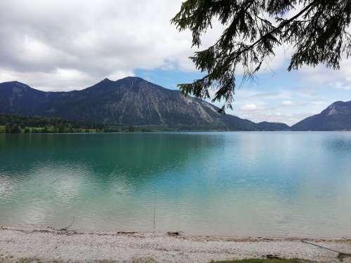 Lake Walchensee Bavaria Sky Mountains Spring