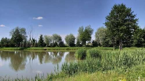 Landscape Pond Lake Nature Reflection Spring Mood