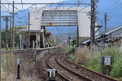 Landscape Train Track Station Traffic Travel