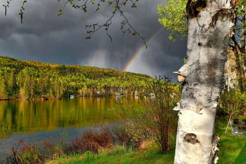 Landscape Rainbow Nature Water Clouds Colorful