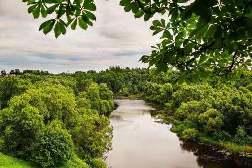 Landscape Nature Clouds River Lovat Greens Summer