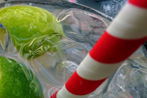 Lemon Lemon Squash Refreshment Drink Glass Ice