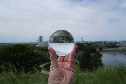 Lens Ball Mirroring Olympic Stadium Munich Water