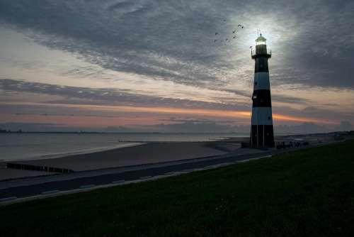 Lighthouse Breskens North Sea Sea Sky Netherlands