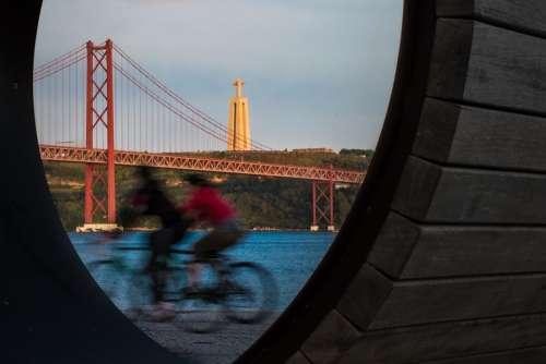 Lisbon Cycling Bridge Tagus River Sunset