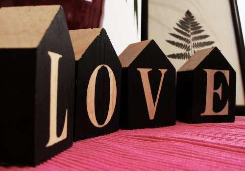 Love Wood Bricks Word Letters Emotion Feeling