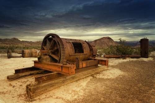 Machine Rust Terrain Industry Clouds Dark