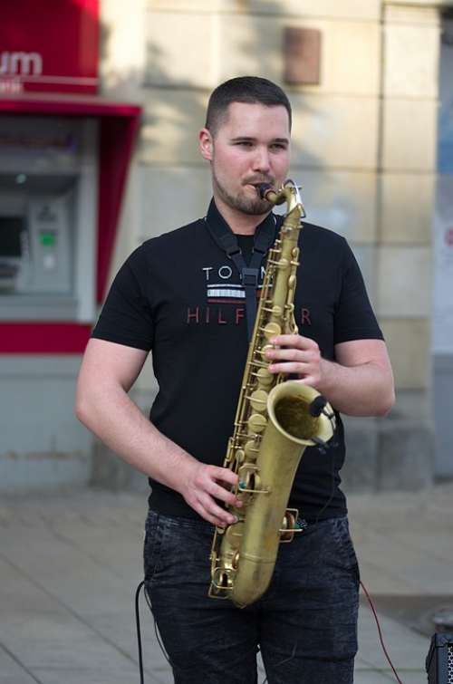 Man Boy Young Singing The Saxophone Interpreting
