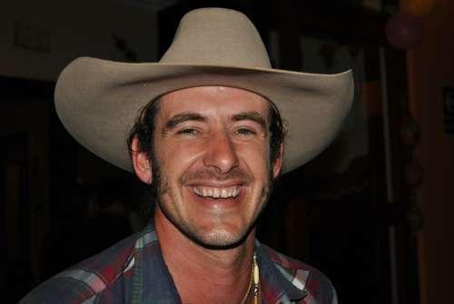 Man Cowboy Bart Hat Western Person