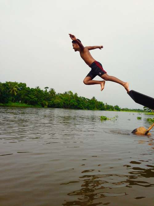 Man Jump Pond Water Boat Jumping People Success