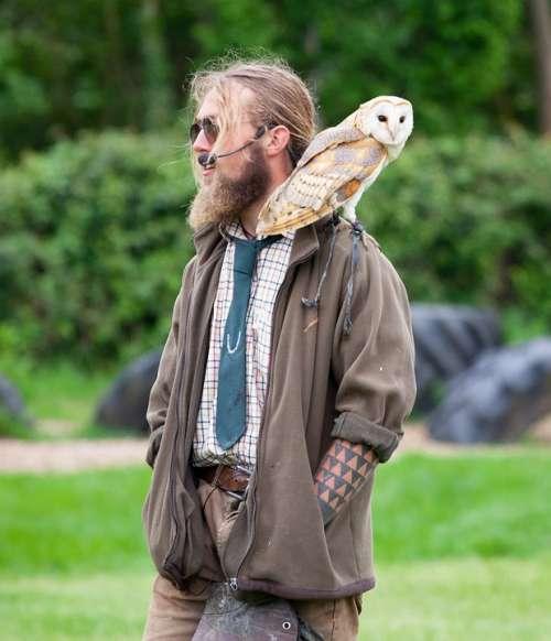 Man With Owl Barn Owl Hippy Microphone Green