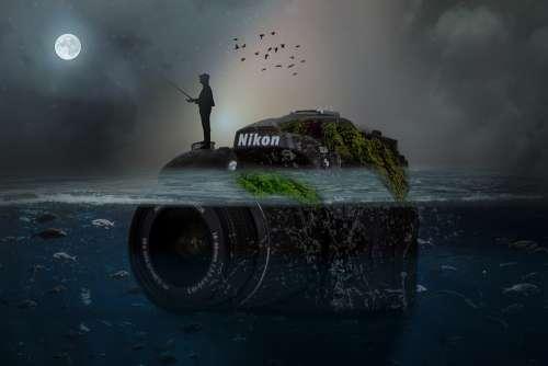 Manipulation Camera Nikon Silhouette Fisherman