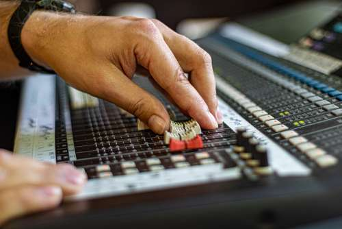 Mixing Console Hands Sound Music Festival Hand