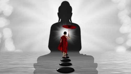 Monk Buddha Water Zen Stones Away Light Beam