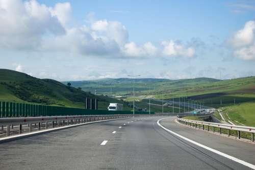 Motorway Road Transylvania Romania Highway Asphalt