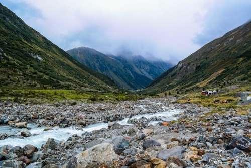 Mountain Stream Rock Scree Water Stones Autumn