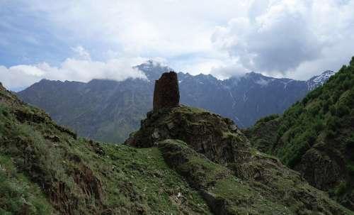 Mountains Georgia Tower Panorama Caucasus