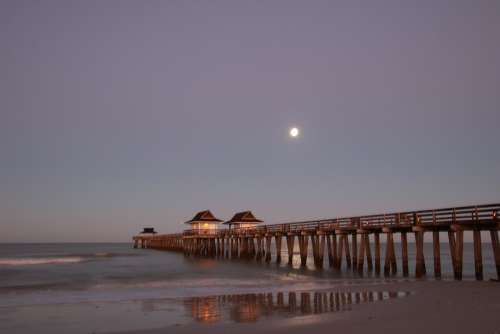 Naples Pier Moon Water Night Reflection