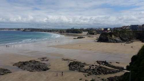 Newquay Beach Summer Cornwall Coastline Scenery