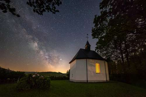 Night Star Chapel Church Starry Sky Milky Way