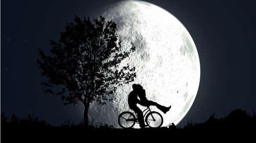Night Moon Couple Bike Nature Dark Landscape