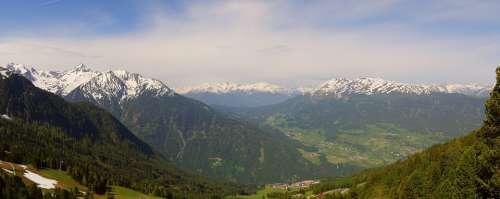 Panorama Alpine Austria Mountain Meadow Summit