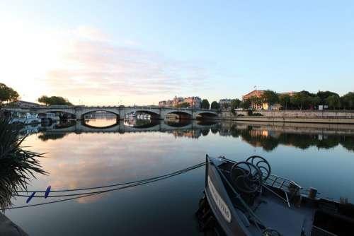 Paris Morning Dawn Sunrise Calm Sky City Peniche