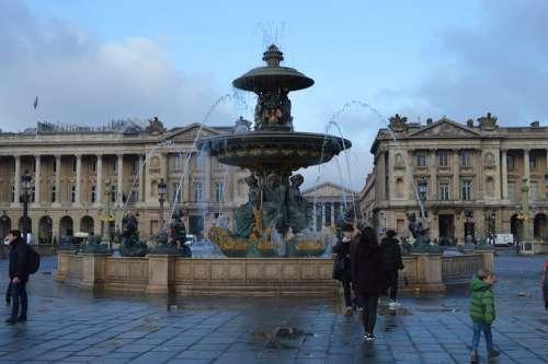 Paris Fountain France Water Architecture Tourism