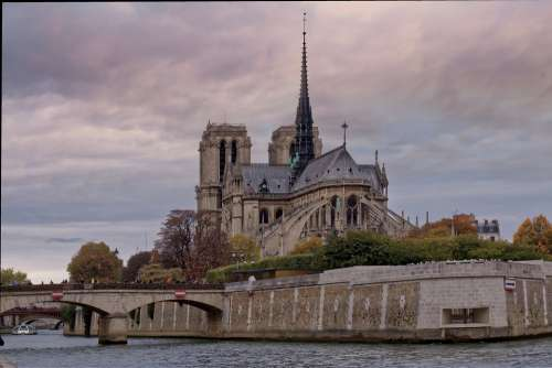 Paris Notre-Dame Cathedral Gothic Fall Famous