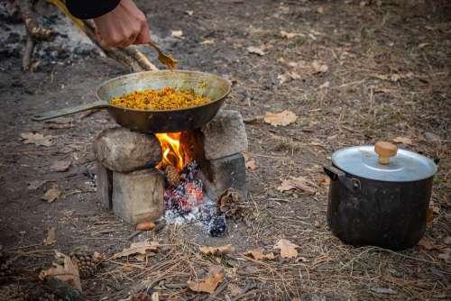Picnic Bonfire Pilaf Food Frying Pan Vacation