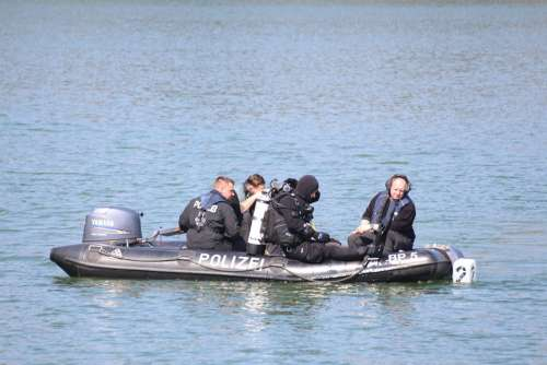 Police Divers Boat Diving Water Blue Underwater