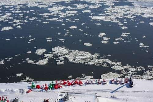 Quebec Water Gefrohren Ice Floes Ice Winter Snow