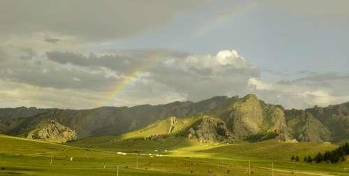 Rain Rainbow Sky Weather Colorful Landscape