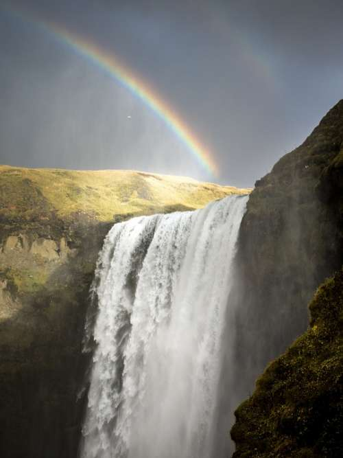 Waterfall Iceland Rainbows Nature Water Landscape