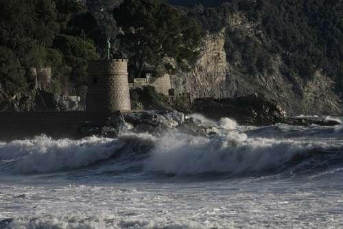 Recco Liguria Sea Sea Storm Landscape Italy