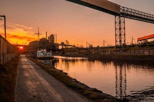 River Sunset Landscapes Orange Sky Peniche Boat