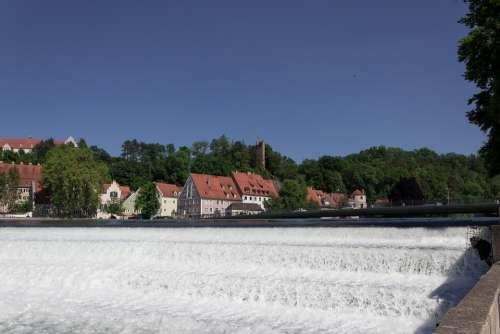 River Barrages Lech Bridge Houses Architecture