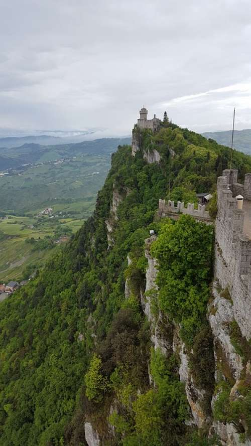 San Marino Landscape Cliff Tower Clouds Sky