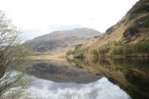 Scotland Lake Landscape Water Mountains Loch