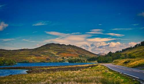 Scotland Mountains Road Lonely