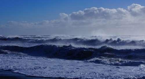 Sea Beach Wave Surf Clouds