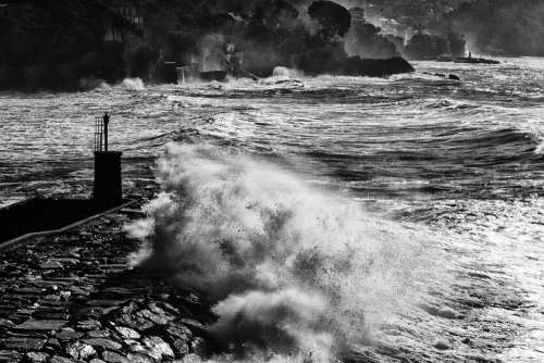 Sea Storm Sea Waves Recco Liguria Genoa Landscape